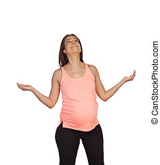 Pensive prengnant woman with outstretched arms looking up