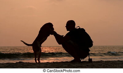 The man shakes his paw dog. Silhouette.