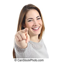 Happy woman with perfect smile pointing at camera isolated...