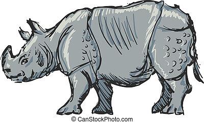rhinoceros - hand drawn, sketch, cartoon illustration of...