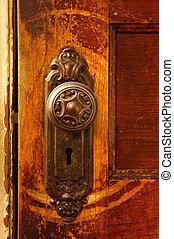 Vintage door knob - a close up of a vintage door knob on a...
