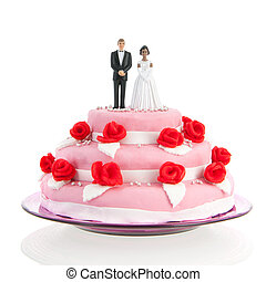 mixed couple on top of wedding cake - mixed couple on top of...