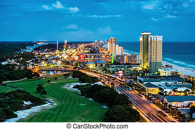 Panama City Beach, Florida, view of Front Beach Road at...