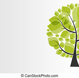Beautiful Green Tree on a White Background Vector...