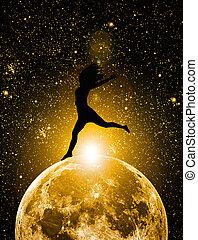 silueta, mulher, lua