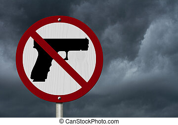 No Firearms Allowed Sign, An red road sign with handgun icon...