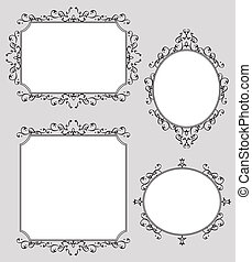 Elegant Decorated Frames Illustration Set - A collection of...