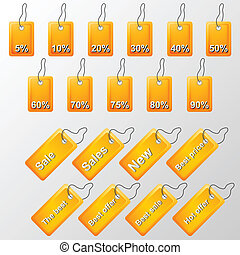 Illustration of orange labels with offers - Set of orange...