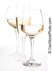Three glasses of white wine - Three different glasses of...