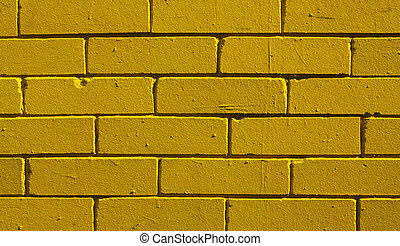 Yellow brick wall - Lemon-yellow brick wall textured...