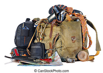 old traveller equipment backpack, passport, knife, map,...