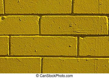 Yellow brick wall closeup - Lemon-yellow brick wall textured...