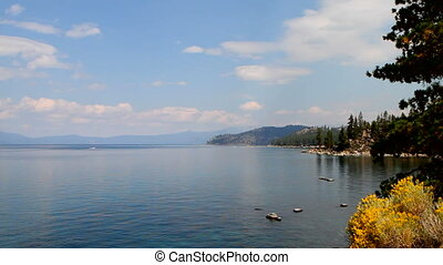 Lake Tahoe North - View looking down on Lake Tahoe, Nevada,...