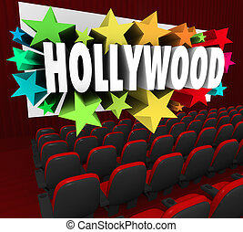 Hollywood Silver Screen Movie Theater Show Business Industry...
