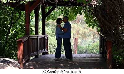 Romantic Seniors On Footbridge - Two senior adult retirees...