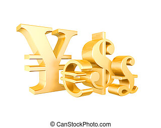 currency symbol - golden currency symbol isolated on white...