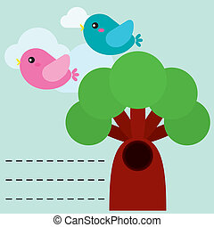 Cute birds with tree