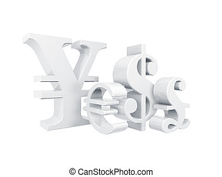 currency symbol - 3d currency symbol isolated on white...