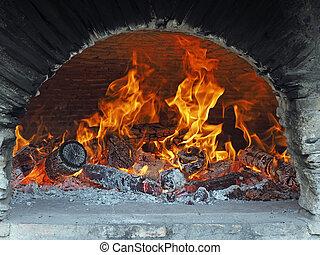 madera, fuego, bread, horno
