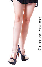 ect girl with high heel shoes, isolated white background
