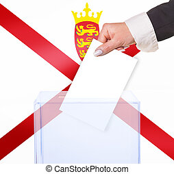 electoral vote by ballot, under the Jersey flag