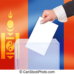 electoral vote by ballot, under the Mongolia flag
