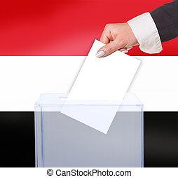 electoral vote by ballot, under the Yemen flag