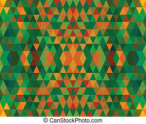 Green And Orange Retro Tiles Pattern Vector Illustration