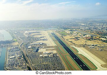 Aerial view of San Diego airport - Aerial view of the San...