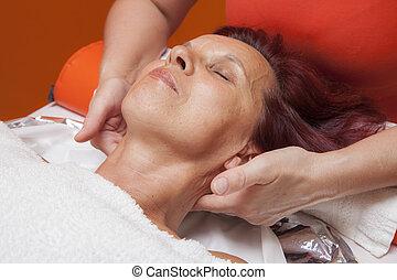 facciale, massaggio, linfatico, drenaggio
