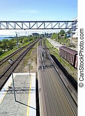 Railroad - The railroad in the bright sunny day under...