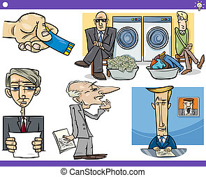 cartoon concepts and sayings set - Illustration Set of...