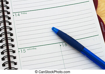 Planning your day, A day blank day planner with a blue pen