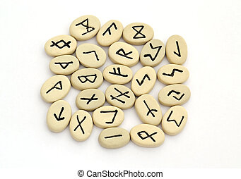 fortune telling of the nordic runes on white background