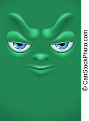 Cartoon face with angry emotion Vector