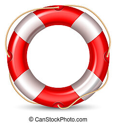 Lifebuoy - Red lifebuou isolated on white background High...