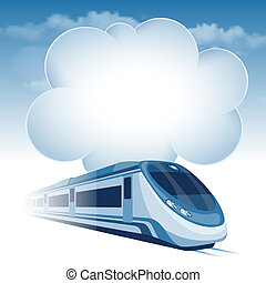 Passenger high speed train moving under the blue sky and...