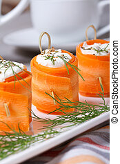 carrot rolls stuffed with feta cheese. Vertical - carrot...