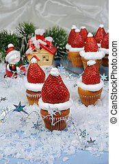 Christmas muffins - strawberries with whipped cream in the...