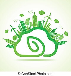 Ecology concept with eco cloudscape - Ecology concept with...