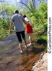walking in a river