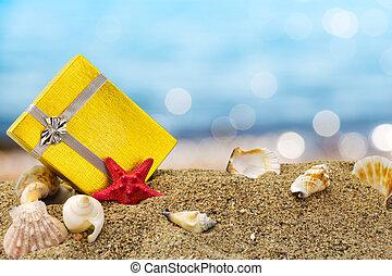 箱子, 夏天, 金, 禮物, 沙子, 背景, 海