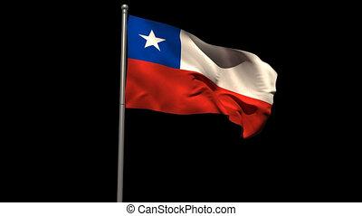 Chile national flag waving on flagpole on black background