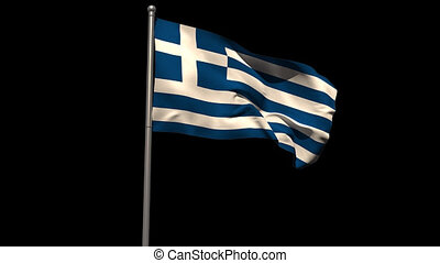 Greece national flag waving on flagpole on black background