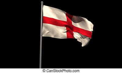 England national flag waving on flagpole on black background