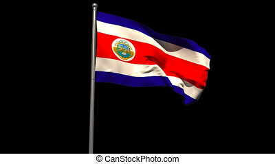 Costa rica national flag waving on