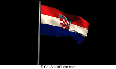 Croatia national flag waving on flagpole on black background