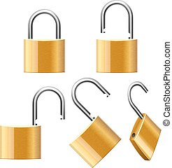 Set of Padlocks. Open and Closed. Vector