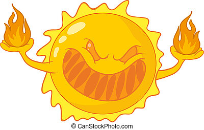 Evil cartoon sun - caricature of sunburn, sunstroke, harmful...