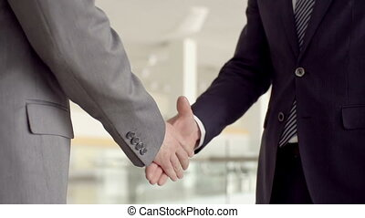Firm Handshake - Slow motion of two business partners hand...